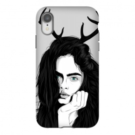 iPhone Xr  Cara by Roland Banrévi (girl,deer,vector,woman,beauty,portrait,black and white)