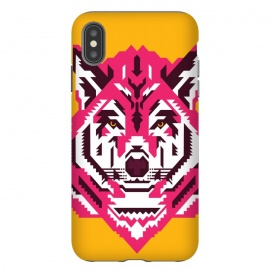 iPhone Xs Max  Geometric wolf by Roland Banrévi (wolf,animal,animals,geometry,magenta,vector,portrait)