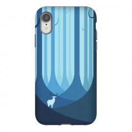 iPhone Xr  Blue forest by  (animal,animals,forest,trees,vector,deer,alone)
