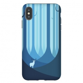 iPhone Xs Max  Blue forest by Roland Banrévi (animal,animals,forest,trees,vector,deer,alone)