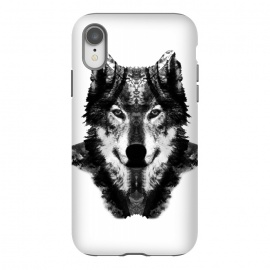 iPhone Xr  The Black Forest Wolf  by Rui Faria (wolf,wolves,nature,black and white,ink,paint,forest)