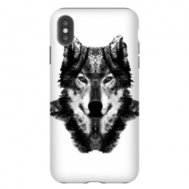 iPhone Xs Max  The Black Forest Wolf  by Rui Faria (wolf,wolves,nature,black and white,ink,paint,forest)