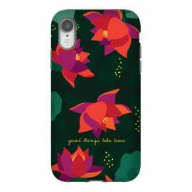 iPhone Xr  Midnight Flowers - Green by  (Floral,pattern,inspirational quote,green,woods,midnight,nocturne,illustration)