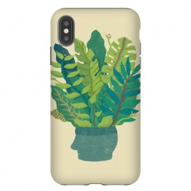 iPhone Xs Max  GREEN MIND by Ilustrata (green,natural,head,mind,cool,design,plant)