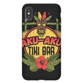 iPhone Xs Max  Aku Aku - Tiki Bar by Ilustrata (crash,crash bandicoot,bar,tiki,aku aku,games,90's,playstation,floral,nature,lettering,phrase)