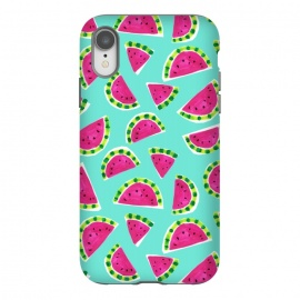 iPhone Xr  painted watermelon by Laura Grant (watermelon,fruit,tropical,summer)
