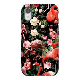 iPhone Xr  Floral and Flemingo Pattern by Burcu Korkmazyurek (animals,flamingos,nature,birds,garden,forest,night,jungle,tropical,botanical)