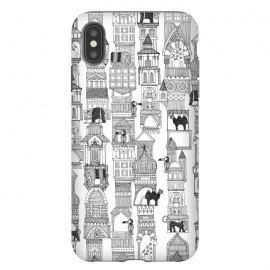 iPhone Xs Max  Urban Jungle by Sharon Turner (animal,buildings, line art,pattern,black and white)