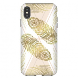 iPhone Xs Max  Gold Feathers by Barlena (feathers, geometric, triangle, apricot, gold, zentangle, symmetric)