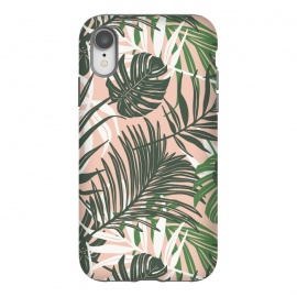 iPhone Xr  Hideaway by Heather Dutton (tropical,tropical pattern,tropical print,tropical leaves,hawaii,palm,palm leaves,nature,nature inspired,pattern,pink,green,tropics)
