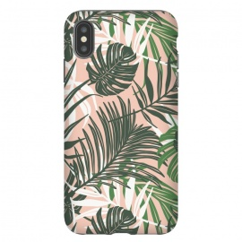iPhone Xs Max  Hideaway by Heather Dutton (tropical,tropical pattern,tropical print,tropical leaves,hawaii,palm,palm leaves,nature,nature inspired,pattern,pink,green,tropics)