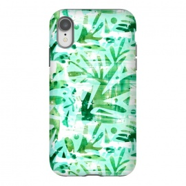 iPhone Xr  Abstract Jungle by Heather Dutton (tropical,tropical pattern,tropical print,tropics,jungle,tropical leaves,leaves,nature,nature inspired,aqua,green,watercolor,mixed media,abstract,pattern)