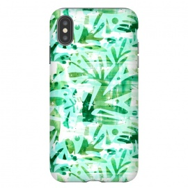 iPhone Xs Max  Abstract Jungle by Heather Dutton (tropical,tropical pattern,tropical print,tropics,jungle,tropical leaves,leaves,nature,nature inspired,aqua,green,watercolor,mixed media,abstract,pattern)