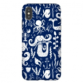 iPhone Xs Max  Under The Sea - Navy by Heather Dutton (nautical,nautical print,nautical pattern,mermaid,mermaids,fish,ocean,ocean theme,underwater,sea,blue,navy,navy blue,seahorse,anchor)