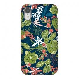 iPhone Xr  Succulent Garden Blue by  (succulent,succulents,tropical,tropical pattern,tropical print,cactus,blue,navy,navy blue,pattern,nature,nature inspired,desert,plant,plants)