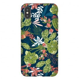 iPhone Xs Max  Succulent Garden Blue by Heather Dutton (succulent,succulents,tropical,tropical pattern,tropical print,cactus,blue,navy,navy blue,pattern,nature,nature inspired,desert,plant,plants)