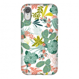 iPhone Xr  Succulent Garden White by Heather Dutton (succulent,succulents,tropical,tropical pattern,tropical print,cactus,nature,nature inspired,desert,plant,plants,white)