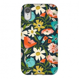 iPhone Xr  Nightshade by Heather Dutton (floral,floral pattern,floral print,flower,florals,flowers,nature,nature inspired,garden,leaves,plant,plants,blue,feminine,bloom,pattern)