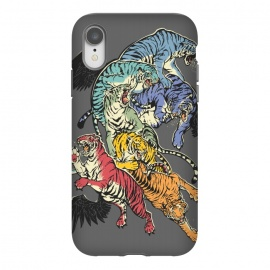 iPhone Xr  Seven Caged Tigers by Draco (tiger, rainbow,wings,colors)