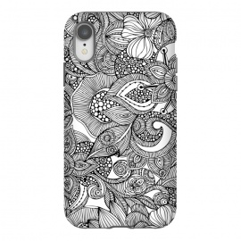 iPhone Xr  Doodles by Valentina Harper (flowers,black&white)