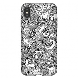 iPhone Xs Max  Doodles by Valentina Harper (flowers,black&white)