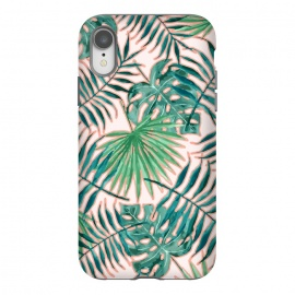 Bali II by Uma Prabhakar Gokhale (pattern, acrylic, watercolor, tropical, nature, botanical, monstera, palm, palm leaves, palm leaf, blush, green, greenery, exotic)