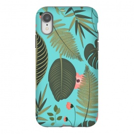 iPhone Xr  Blush Pop by Uma Prabhakar Gokhale (graphic, pattern, nature, tropical, floral, blush, blue, monstera, fern, palm, palm leaves, blossom, exotic, botanical)