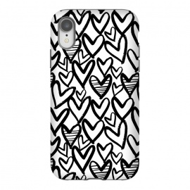 iPhone Xr  Black and white hearts by Laura Grant (heart,love,love heart,painted)
