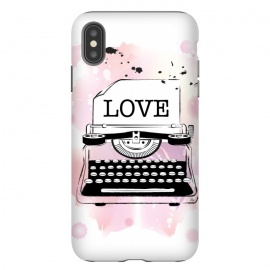 iPhone Xs Max  Love Typewriter by Martina (love,typewriter,pink,vintage,modern,popular,fashionable,romantic,elegant,stylish,illustration,for her,feminine,girlie,watercolor,original, unique)