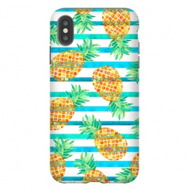 iPhone Xs Max  Pineapple Sea Stripes by Amaya Brydon (pineapple,fruit,stripes,geometric,summer,sea)