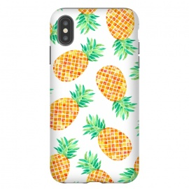 iPhone Xs Max  Summer Pineapple by Amaya Brydon (pineapple,fruit,botanical,pattern,orange,yellow)