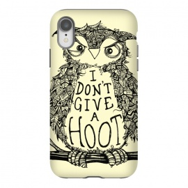 iPhone Xr  No Hoots Given by  (Nature,owl,hoot,attitude, type, saying, slogan,no hoots,grumpy,owl art,pattern,detailed,drawing,hand drawn,bird,tree,cream,angry bird,typography,slogan art,inspirational,no worries,no cares,free,wotto, cute character, cute bird)