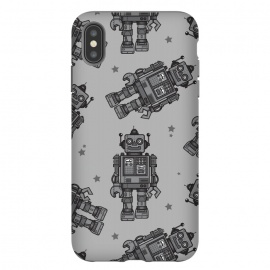 iPhone Xs Max  A Vintage Robot Friend Pattern  by Wotto (robot,toy,robots, robot pattern,robot art,vector,tin toys, vintage toys,beep bop,pattern,space, future,science,robotic,cute, fun, nostalgia ,wotto)