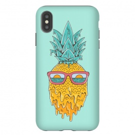 iPhone Xs Max  Pineapple Summer Blue by Coffee Man (pineaaple, summer,hot,melted,ocean, sea,beach,vacation,spring break,sun, sun glasses,marine,vintage,cool)