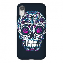 iPhone Xr  Calavera IV Neon  by  (skull, day of the dead,skulls,floral,sugar skull,neon, neon colors, colorful, death, dead, skull face,roses,flowers,patterned,calavera,mexican art, Mexico, pattern,cool, wotto,dark arts)