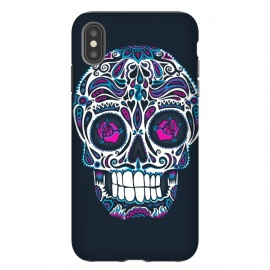 iPhone Xs Max  Calavera IV Neon  by Wotto (skull, day of the dead,skulls,floral,sugar skull,neon, neon colors, colorful, death, dead, skull face,roses,flowers,patterned,calavera,mexican art, Mexico, pattern,cool, wotto,dark arts)
