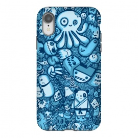 iPhone Xr  Raindrops and Doodles by Wotto (sea, ocean, doodles,doodle,drawing, sketch,doodle art,pattern, detailed, characters, cute, fun, kawaii,ocean creatures,blue, blues,line,line art, hand drawn,drawings,wotto)