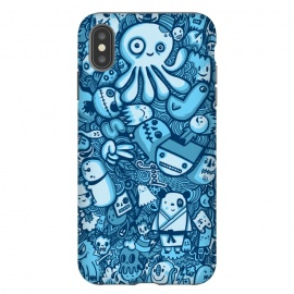 iPhone Xs Max  Raindrops and Doodles by Wotto (sea, ocean, doodles,doodle,drawing, sketch,doodle art,pattern, detailed, characters, cute, fun, kawaii,ocean creatures,blue, blues,line,line art, hand drawn,drawings,wotto)