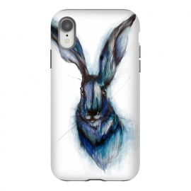 iPhone Xr  Blue Hare by ECMazur  (hare,rabbit,bunny,watercolor,blue,ink,animal,nature,wildlife,whimsical)