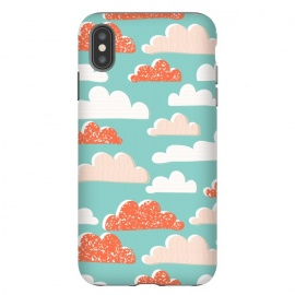 Clouds by Sarah Price Designs (blue sky,blue,orange,cloud)