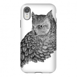 iPhone Xr  A Friend for Forsythe by ECMazur  (owl,bird,feather,animal,pen,ink,nature,wildlife,wise,realism)