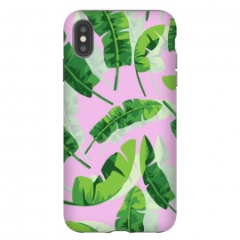 Banana Leaf Pink by MUKTA LATA BARUA (green,banana leaf,tropical,pink,summer)