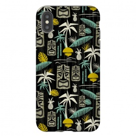 Island Tiki Black by Heather Dutton (tiki,tropical,tropical print,tropical pattern,vector,pattern,retro,retro style,midcentury,midcentury modern,palm tree,palm trees,hawaiian,hawaii,tiki pattern,black,vintage)