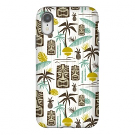 iPhone Xr  Island Tiki White by Heather Dutton (tiki,tiki pattern,tropical,tropical pattern,tropical print,vector,pattern,illustration,retro,retro style,midcentury,midcentury modern,palm tree,palm trees,palm,hawaiian,hawaii,white,vintage)