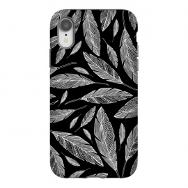 iPhone Xr  Float Like A Feather by Heather Dutton (feather,feathers,nature,nature inspired,bird,birds,native american,black,black and white,vector,illustration,graphic design,pattern,patterns,modern,quill,animals)