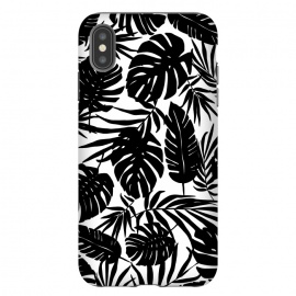 Urban Jungle White by Heather Dutton (tropical,tropical pattern,tropical print,tropical leaf,tropical leaves,palm,palm leaf,palm leaves,banana leaf,banana leaves,monstera,monstera leaf,monstera leaves,black,black and white,pattern,graphic design,nature,nature inspired,hawaii,hawaiian,leaf,leaves)