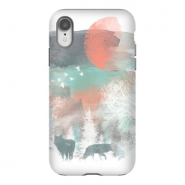 iPhone Xr  Winter Paint by Elizabeth Dioquinto (animals,winter,wolf,landscape,watercolor)