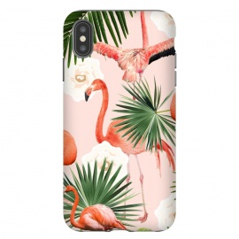iPhone Xs Max  Flamingo Guava by Uma Prabhakar Gokhale (pattern, acrylic, flamingo, tropical, blush, pink, floral, exotic, palm, palm leaf, palm leaves, guava, juicy, fruit)