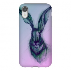 iPhone Xr  Watercolor Hare by ECMazur  (hare,rabbit,bunny,pink,ombre,watercolor,animal,wildlife)