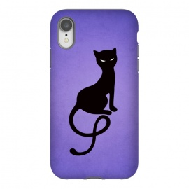 iPhone Xr  Purple Gracious Evil Black Cat by Boriana Giormova (cat,kitty,black cat,evil cat,evil,feline ,evil eyes,silhouette,purple,animal,feline,gothic,dark,evil kitty,black kitty)